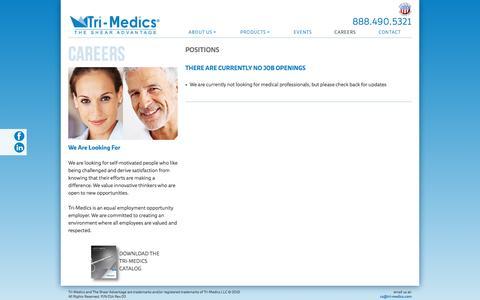 Screenshot of Jobs Page tri-medics.com - CAREERS - captured Feb. 21, 2016