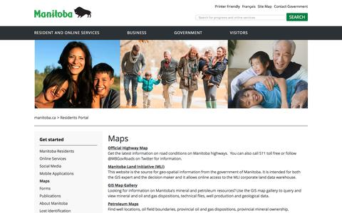 Screenshot of Maps & Directions Page gov.mb.ca - Residents Portal | Maps - captured Aug. 28, 2016
