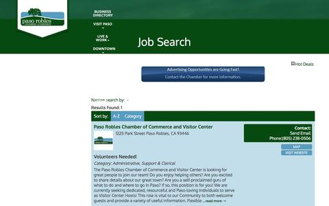 Screenshot of Jobs Page pasorobleschamber.com - Job Search - Paso Robles Chamber of Commerce, CA - captured Oct. 25, 2016