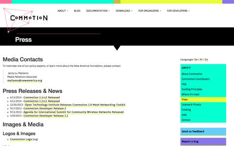 Screenshot of Press Page commotionwireless.net - Press | Commotion Wireless - captured Jan. 29, 2018