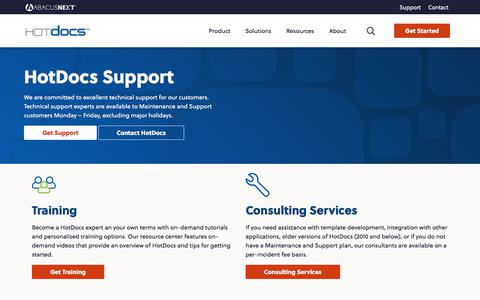 Screenshot of Support Page hotdocs.com - Support | HotDocs - captured Nov. 15, 2019