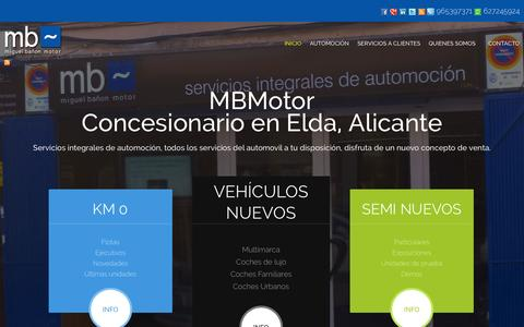 Screenshot of Home Page mbmotor.es - Concesionario Coches en Elda - Alicante - MBmotor Concesionario Elda - captured Sept. 30, 2014
