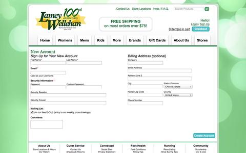 Screenshot of Signup Page lwshoes.com - Create Account - captured Oct. 1, 2014