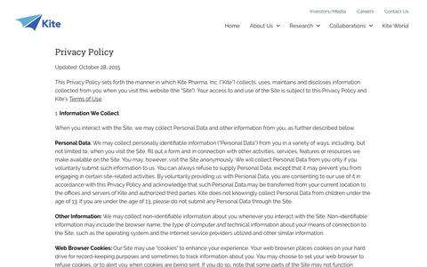 Privacy Policy | Kite Pharma