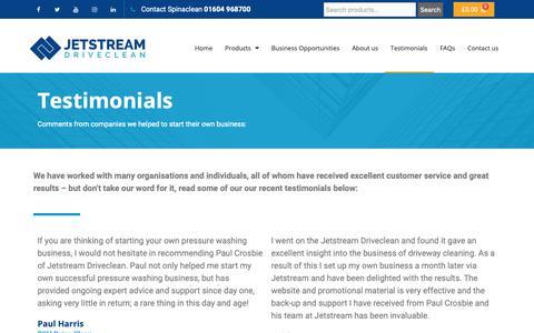 Screenshot of Testimonials Page jetstreamdriveclean.co.uk - Testimonials - Jetstream Driveclean - captured Nov. 6, 2018