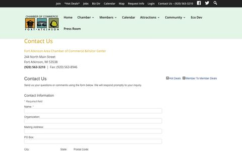 Screenshot of Contact Page fortchamber.com - Contact Us - Contact Us – The Fort Atkinson Area Chamber of Commerce and Visitor Center - captured Feb. 10, 2016
