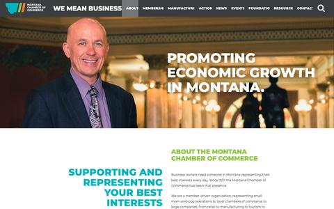Screenshot of About Page montanachamber.com - About - Montana Chamber of Commerce - captured Oct. 20, 2018