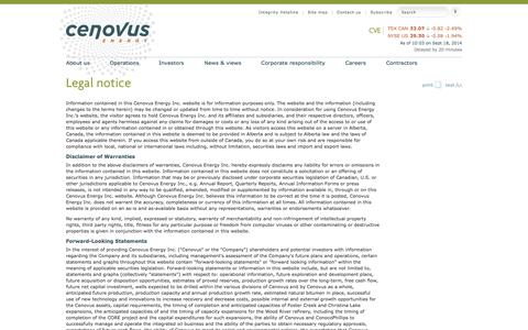 Screenshot of Terms Page cenovus.com - Read Cenovus's legal disclaimer regarding content on the web site - captured Sept. 19, 2014