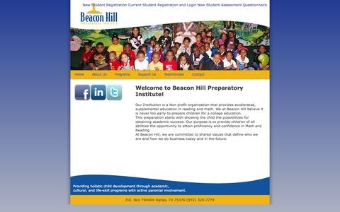 Screenshot of Home Page beaconhillprep.org - Beacon Hill Prepatory Institute - captured Oct. 5, 2014