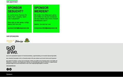 Screenshot of Home Page wesponsor.de - we. GmbH | Sponsoring | Uniparty - captured Sept. 3, 2015