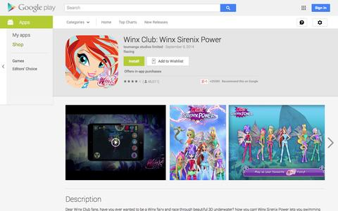 Screenshot of Android App Page google.com - Winx Club: Winx Sirenix Power - Android Apps on Google Play - captured Oct. 22, 2014