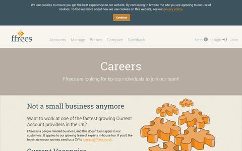 Screenshot of Jobs Page ffrees.co.uk - Ffrees - Jobs at Ffrees. Join our rapidly growing business. - captured Sept. 16, 2014