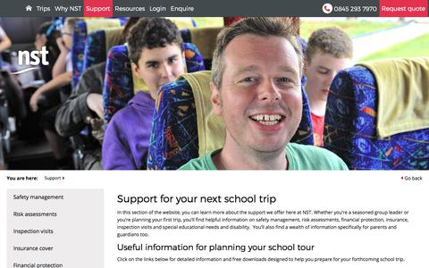 Screenshot of Support Page nstgroup.co.uk - Supporting You Throughout Your School Trips And Tours  | NST - captured Oct. 22, 2017