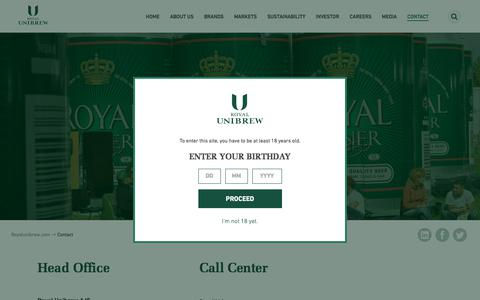 Screenshot of Contact Page royalunibrew.com - Contact - Royal Unibrew - captured June 15, 2017