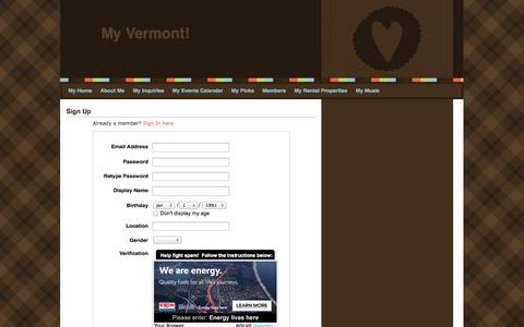 Screenshot of Signup Page webs.com - Signup - My Vermont! - captured Oct. 26, 2014