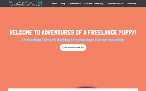Screenshot of Home Page adventuresofafreelanceyuppy.com - Creating Inspiring Stories - Adventures of a Freelance Yuppy - captured Sept. 23, 2014