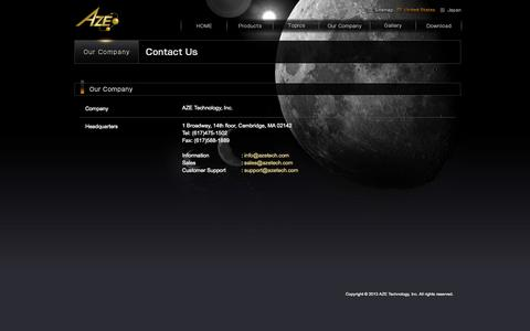 Screenshot of Contact Page azetech.com - AZE Technology, Inc.|Our Company|Contact Us - captured Oct. 4, 2014