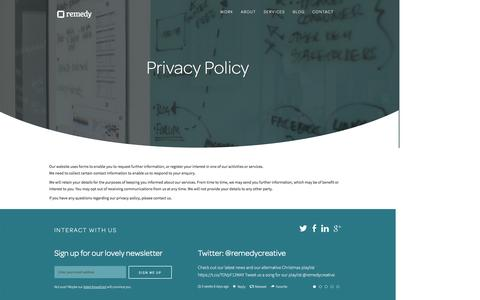 Screenshot of Privacy Page remedycreative.com - Privacy Policy | Remedy Creative - captured Jan. 11, 2016