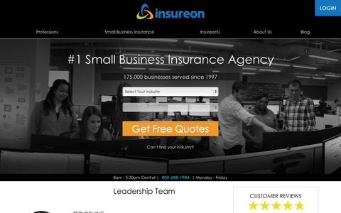 Screenshot of Team Page insureon.com - Leadership Team | About Us | Insureon - captured Nov. 5, 2015