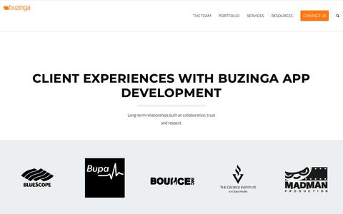 Screenshot of Press Page Testimonials Page buzinga.com.au - Best App Development Company in Australia | Testimonials - captured Feb. 21, 2019