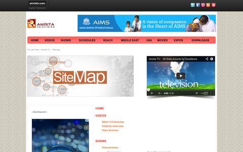 Screenshot of Site Map Page amritatv.com - Welcome to Amrita TV - captured Sept. 24, 2014