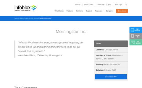 Screenshot of Case Studies Page infoblox.com - Morningstar Inc. - Infoblox - captured Sept. 25, 2017