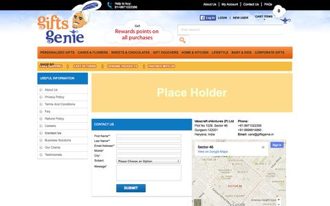 Screenshot of Contact Page giftsgenie.in - Contact Us - captured Sept. 29, 2014