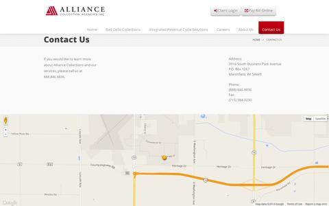Screenshot of Contact Page alliance-collections.com - Alliance Collection Agencies, Inc. - Contact Us - captured Oct. 4, 2014