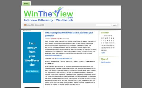 Screenshot of Blog wordpress.com - Wintheviewblog's Blog | Interview Prep & Presentation Strategies - captured Oct. 18, 2018