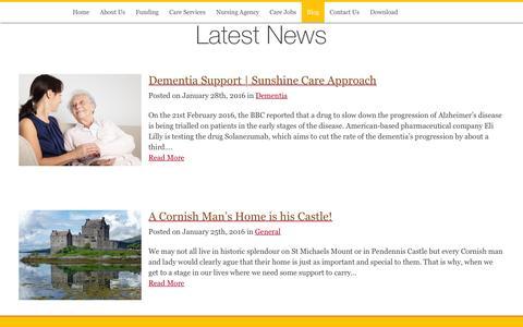 Screenshot of Blog sunshinecare.co.uk - Blog - 24hr Live in Care   Dementia   Alzheimers   Parkinsons Care - captured Feb. 25, 2016
