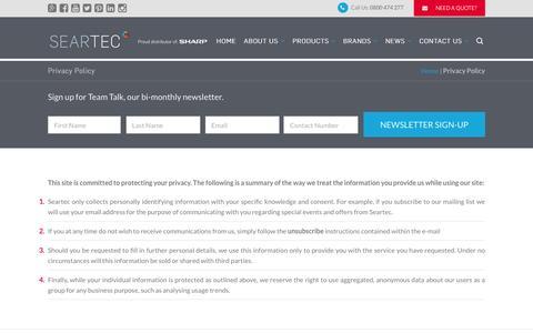 Screenshot of Privacy Page seartec.co.za - Privacy Policy   Seartec - captured Jan. 12, 2016