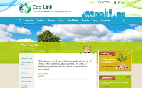 Screenshot of Testimonials Page eco-link.co.uk - About Eco Link Power Ltd - Biomass Boilers Lincolnshire UK - captured Oct. 22, 2014