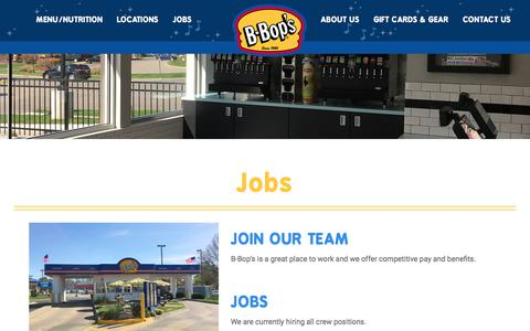 Screenshot of Jobs Page b-bops.com - Job Openings At B-Bop's - captured July 3, 2018