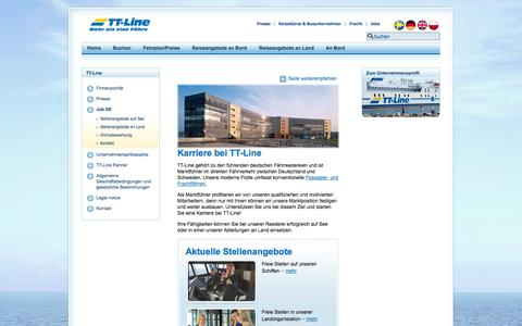 Screenshot of Jobs Page ttline.com - Karriere Job oder Praktikum an Land und auf See | TT-Line - captured Sept. 19, 2014