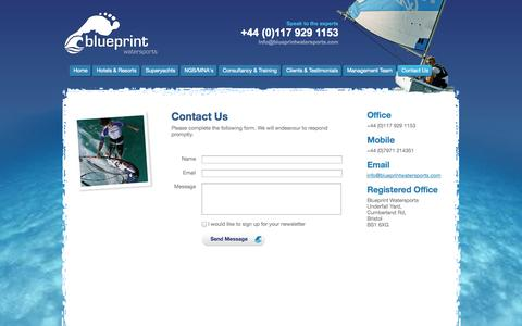 Screenshot of Contact Page blueprintwatersports.com - Contact - captured Oct. 5, 2014