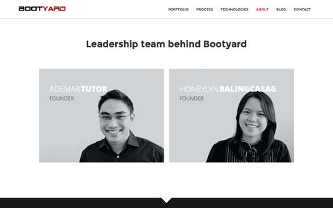 Screenshot of About Page bootyard.com - Bootyard - A Ruby on Rails, AngularJS Web Development, UI UX Design Company in Cebu, Philippines - captured Jan. 6, 2016