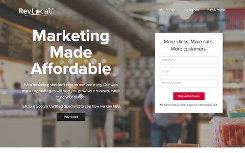 Screenshot of Landing Page revlocal.com - Web Marketing Company | Small Business Web Marketing by RevLocal - captured Dec. 9, 2015