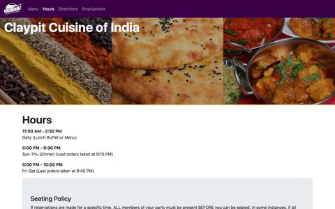 Screenshot of Hours Page claypit.net - Claypit Cuisine of India - captured July 1, 2018