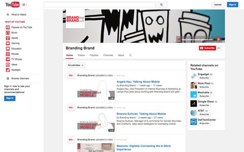 Screenshot of YouTube Page youtube.com - Branding Brand  - YouTube - captured Oct. 28, 2014
