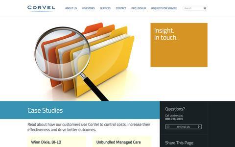 Screenshot of Case Studies Page corvel.com - Case Studies - CorVel - captured Oct. 3, 2014