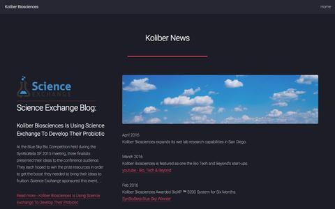 Screenshot of Press Page koliberbio.com - Koliber Biosciences - News - captured Nov. 27, 2016