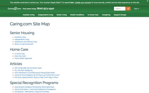 Screenshot of Site Map Page caring.com - Site Map | Caring.com - captured July 3, 2016