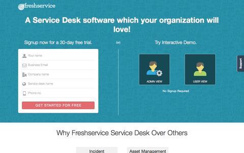 Screenshot of Landing Page freshservice.com - Freshservice ITSM | ITIL-ready service desk software - captured Aug. 17, 2016
