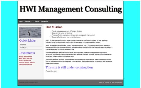 Screenshot of Home Page hwiconsulting.com - HWI Management Consulting - captured Oct. 1, 2014