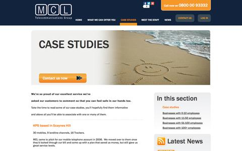 Screenshot of Case Studies Page mcltelecom.co.uk - Case studies | mcltelecom - captured Oct. 27, 2014