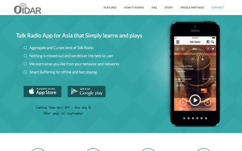Screenshot of Home Page Support Page oidarapp.com - Oidar – Tunein to Best Podcast Business Radio Money Talks , Talk Radio App for Asia that Simply learns and plays, So simple it actually works - captured Oct. 7, 2014