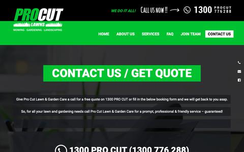 Screenshot of Contact Page procutlawns.com.au - Contact us / Get Quote | Lawn Mowing | PRO CUT LAWNS - captured Oct. 21, 2018