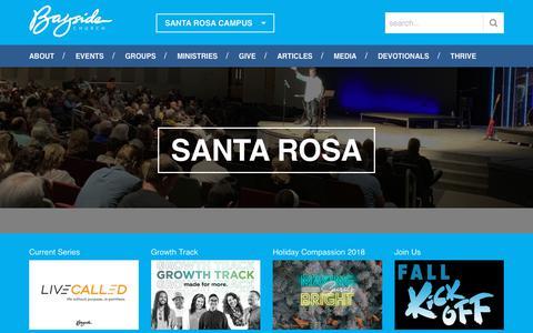 Screenshot of baysideonline.com - Home | Bayside Church, Santa Rosa Campus - captured Oct. 30, 2018