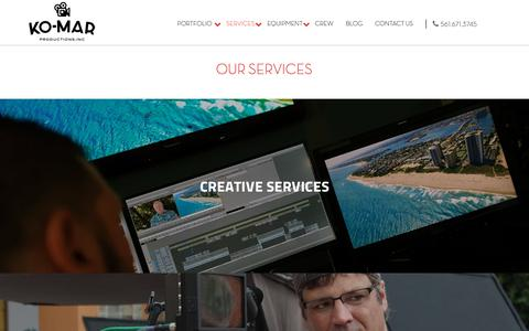 Screenshot of Services Page ko-mar.com - Production, Post-Production, Ariel Videography & Photography Services - captured Oct. 14, 2018