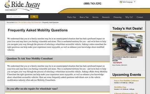 Screenshot of FAQ Page ride-away.com - FAQ | Wheelchair Accessible Vehicles | Ride-Away - captured Oct. 9, 2014